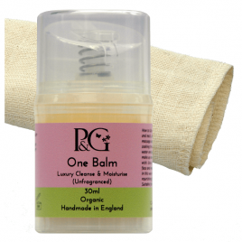 Organic 'One Balm' Unfragranced (Facial Hot Cloth Cleanser & Moisturiser) 30ml + Organic Muslin Cloth