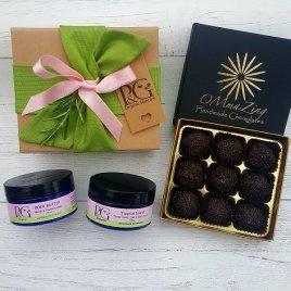 Gift Combo – 'Tropical Island' Scrub 100g + Neroli & Frankincense Body Butter 100ml + (optional) Luxury Organic Chocolates