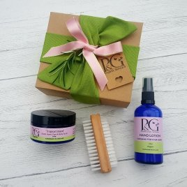 Gift Combo – 'Tropical Island' Scrub 100g + Organic Hand Lotion 100ml + Nail Brush
