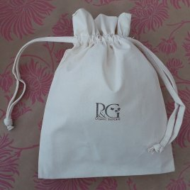 gift wrapping - pink & green cotton drawstring bag