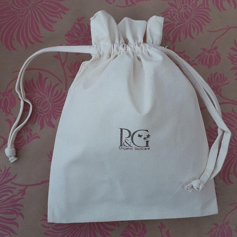 gift wrapping - pink & green cotton drawstring bag