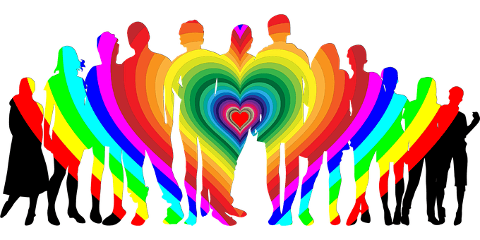 Love Is: Family and Friends - rainbow, heart and group of people graphic.