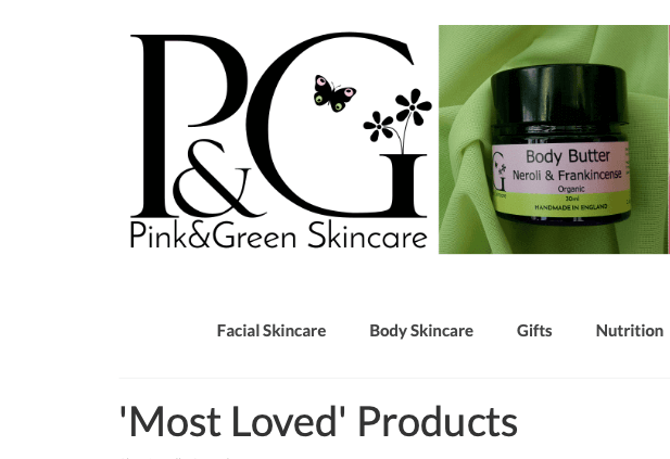 Pink and Green most loved products. Screen shot from website showing Pink & Green logo and a product.