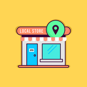 Shopping small and Shopping Local - graphic of local store