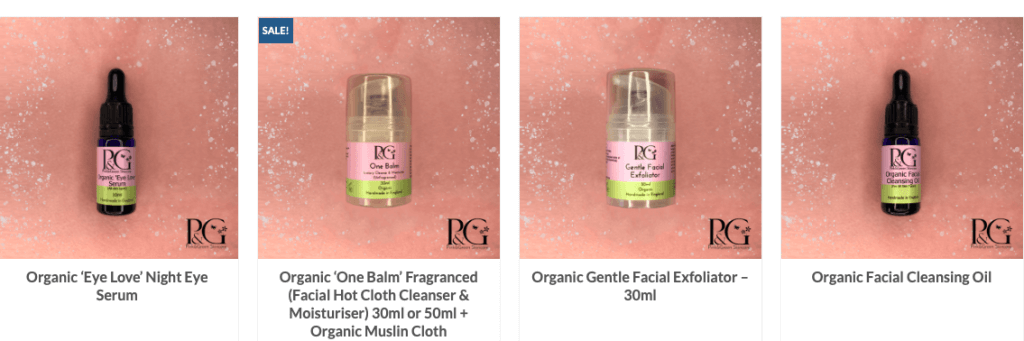 autumn skincare essentials - a selection of Pink&Green organic facial skincare products